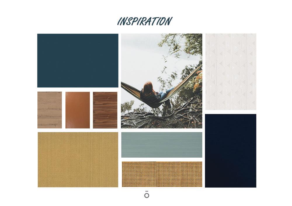 Mood board et planche chromatique, matériaux, projet ÉCLECTISME AFFIRME, couleur naturel, fauve, moutarde, eucalyptus, bleu nuit matériaux, papier peint, velours, noyer