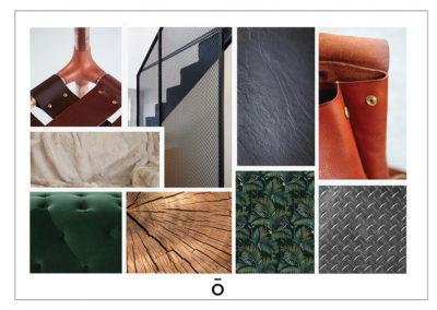 planche matériaux, projet PIED A TERRE LYONNAIS, matériaux naturels, bois, acier, cuir, velours, fourrure ,papier peint image d'inspi pour les matériaux