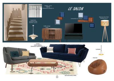 Planche carnet de détails salon, ambiance vintage, projet ÉCLECTISME AFFIRME, couleur naturel, fauve, bleu nuit , velours, noyer, tapis berbère