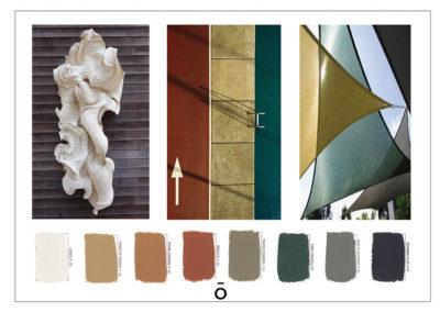 planche chromatique, projet PIED A TERRE LYONNAIS, couleurs sourdes, beige, camel, terracota, taupe, vert gris, noir, image d'inspi pour les couleurs