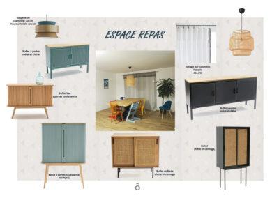 Planche carnet de détails salle à manger, ambiance vintage, projet ÉCLECTISME AFFIRME, couleur naturel, fauve, eucalyptus , bois, noir cannage enfilade bahut vaisselier