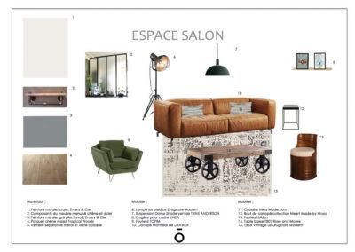 planche carnet de détail salon , projet PIED A TERRE LYONNAIS, style décoratif industriel, mobilier vintage, bois et métal, canapé en cuir, fauteuil en velours vert suspension métal vert, parquet