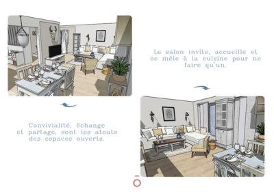 Vue 3D salon, espace repas, projet COCON FAMILIAL, style décoratif maison de famille, couleur beiges, gris, matériaux bois, coton zinc, lin