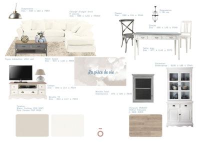 planche carnet de détails salon, projet COCON FAMILIAL, style décoratif maison de famille, couleur claires, ambiance feutrée, bois beige, coton