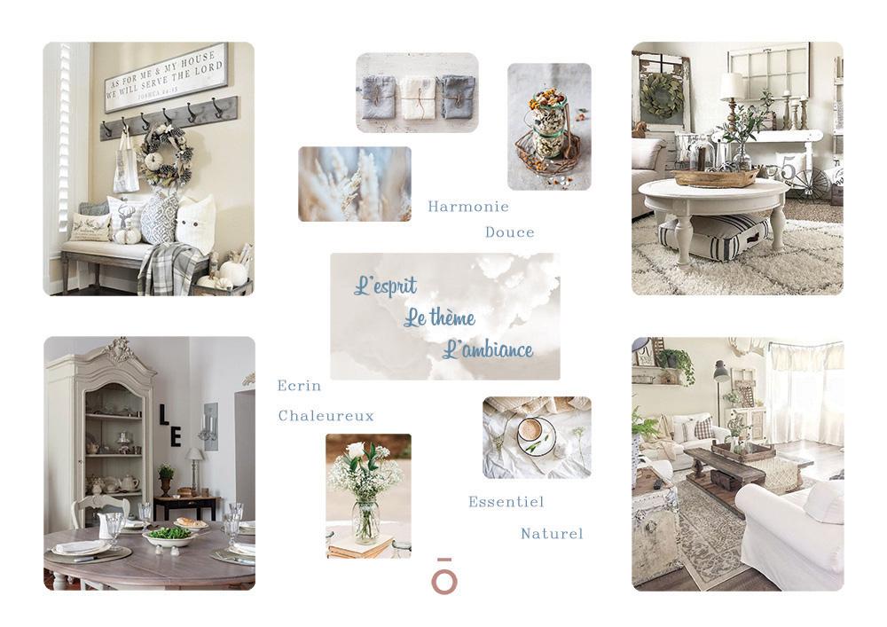 Planche mood board, inspiration de mobilier, décoration d'intérieur style maison de famille , coton, lin, verre, couleurs claires et feutrées