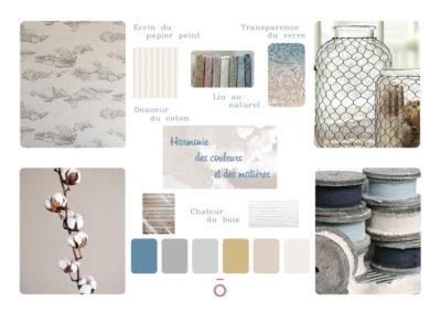 planche matériaux et chromatique, inspiration décoration d'intérieur, coton, lin, verre, couleurs