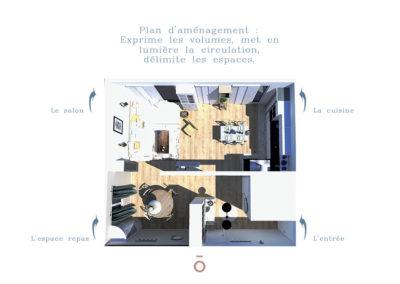Vue 3D de dessus, plan colorisé, aménagement, pièce de vie, cuisine, entrée, projet COCON FAMILIAL décoration style maison de famille, ton sur ton ambiance cocon