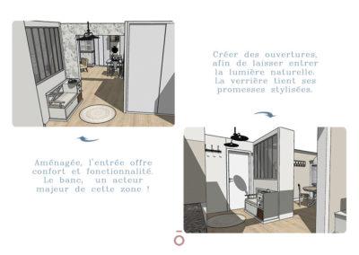Vue 3D de l'entrée, aménagement, banc d'entrée, décoration style maison de famille, ton sur ton ambiance cocon
