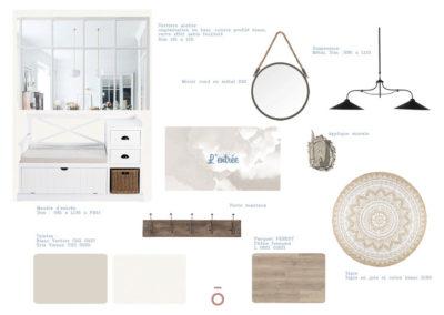 planche carnet de détails entrée , projet COCON FAMILIAL, style décoratif maison de famille, couleur beiges, gris, matériaux bois, coton zinc, papier peint, patères bois et métal, banc d'entrée, tapis suspension en métal industriel, miroir rond