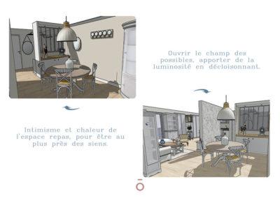 Vue 3D salle à manger, projet COCON FAMILIAL, style décoratif maison de famille, couleur beiges, gris, matériaux bois, coton zinc, papier peint, table et chaise, vaisselier, suspension over size métal blanc