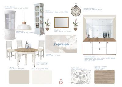 planche carnet de détails salle à manger, projet COCON FAMILIAL, style décoratif maison de famille, couleur beiges, gris, matériaux bois, coton zinc, papier peint, table et chaise, vaisselier