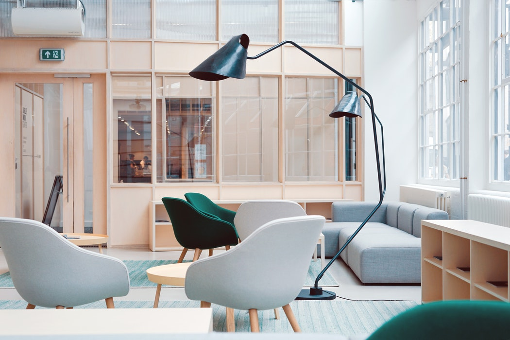Bureau, salon, ambiance, lampe design, harmonie