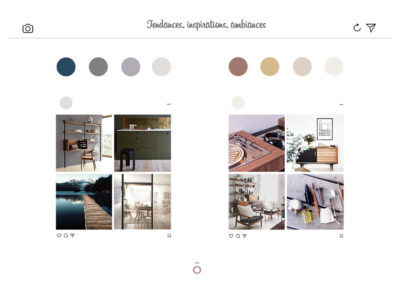 Mood board projet LA HAUT SUR LES BERGES, style décoratif kink folk, mélange de scandinave, vintage et naturel, bleu, vert noir et blanc