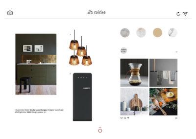 planche carnet de détails cuisine, projet LA HAUT SUR LES BERGES, frigo SMEG, cuisine vert kaki, suspension en boulot