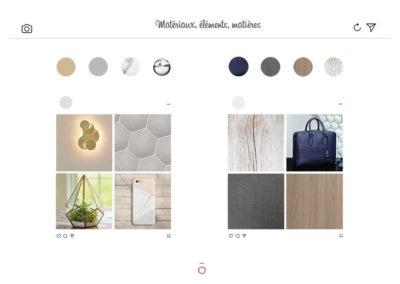planche matériaux, projet LA HAUT SUR LES BERGES, grès cérame, laiton, cuir, noyer, marbre, verre, inspiration style kink folk