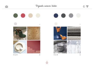 planche chromatique projet LA HAUT SUR LES BERGES, daim vert, laiton ajouré, couleur bleu, couleur malabar, laine grise, coton, poterie