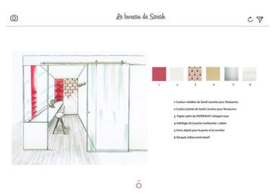 croquis du bureau avec descriptif matériaux, verrière d'atelier en verre, couleur malabar, tabouret de bar