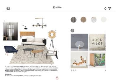 planche carnet de détails salon projet LA HAUT SUR LES BERGES, canapé bi matière Habitat, suspension acier et verre canapé en cuir bleu